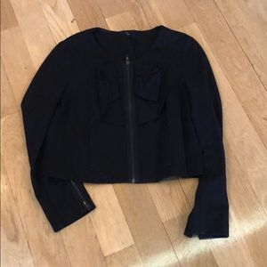 Black ruffle front blazer
